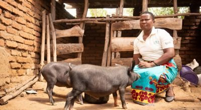 Esther Manjolo, a community animal health worker, in Malawi.