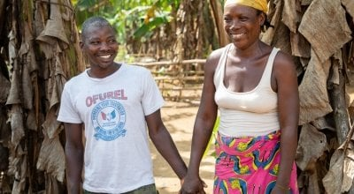Rebecca Dolley with her husband Jeremiah in Nakai Town. The couple have four children together. Photo: Gavin Douglas / Concern Worldwide