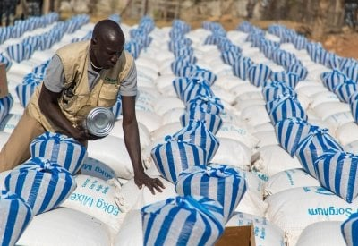 A monthly food distribution in Juba. Photo: Steve De Neef/Concern Worldwide.