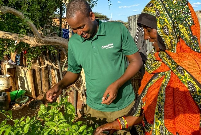 Concern has supported Iladho to grow a healthy and varied kitchen garden in Chalbi desert in Northern Kenya.